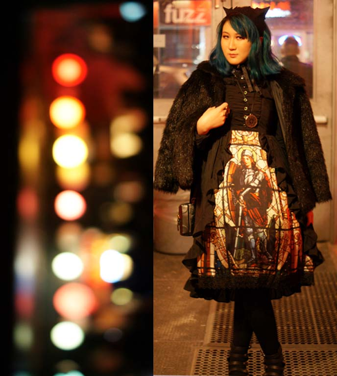 lolita stained glass print dress, cat ears