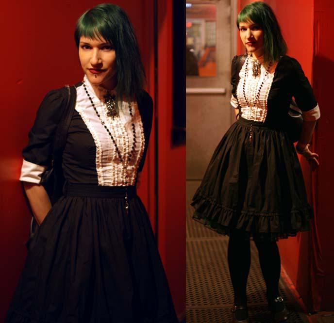 black white victorian mourning dress