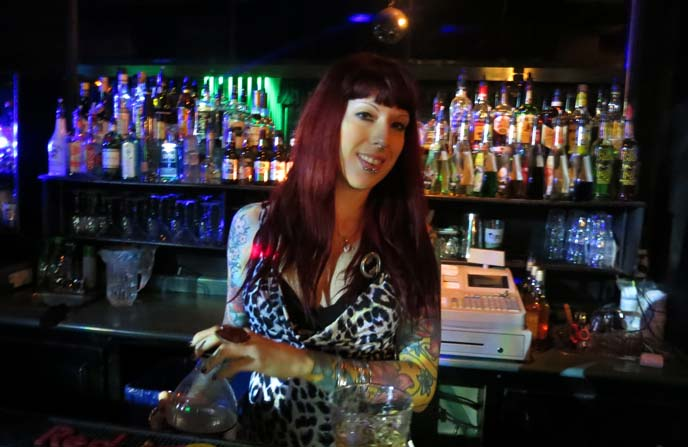 tattooed female bartender, punk toronto