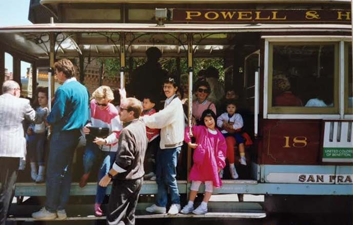 kids riding powell street cable car