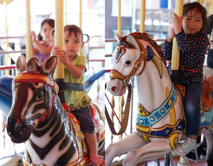 pier 39 carousel, kids riding