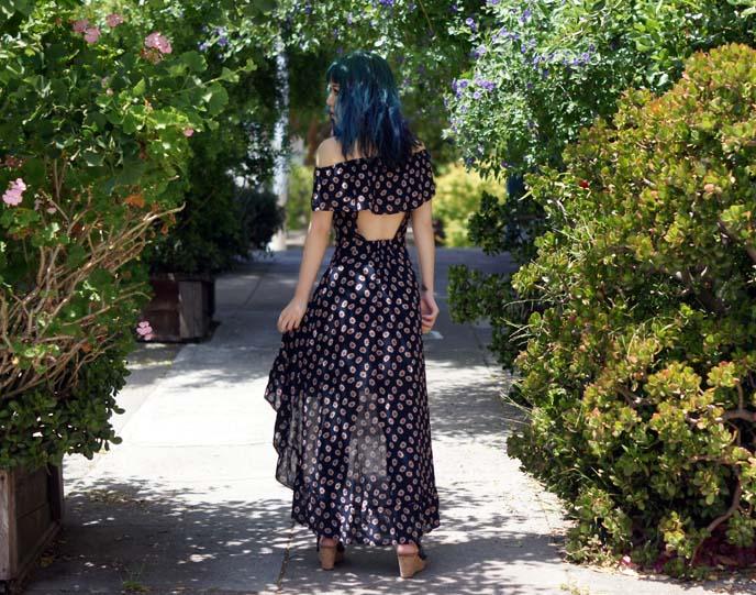 off shoulder long floral dress