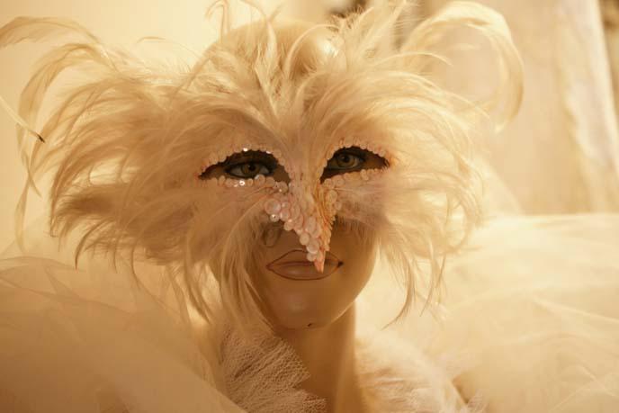 white feather bird mask