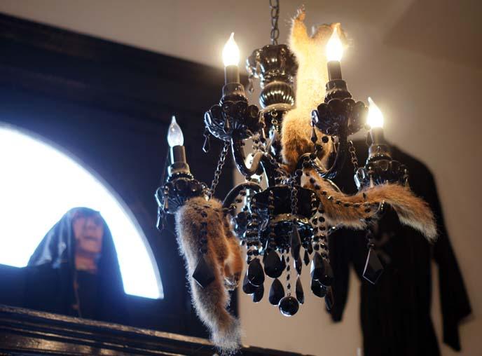 animal tail goth chandelier
