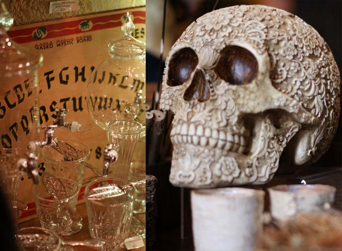 carved skull, ouija board