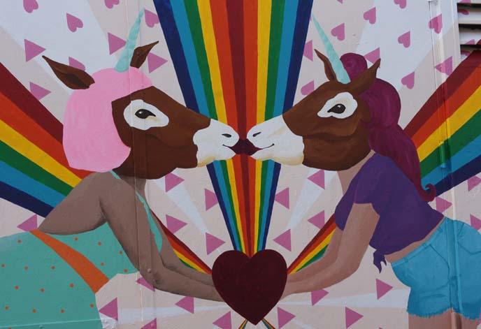 rainbow unicorn mural