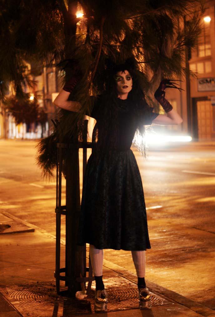 goth wig, velvet dress