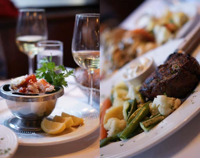 steakhouse filet mignon, crab cocktail