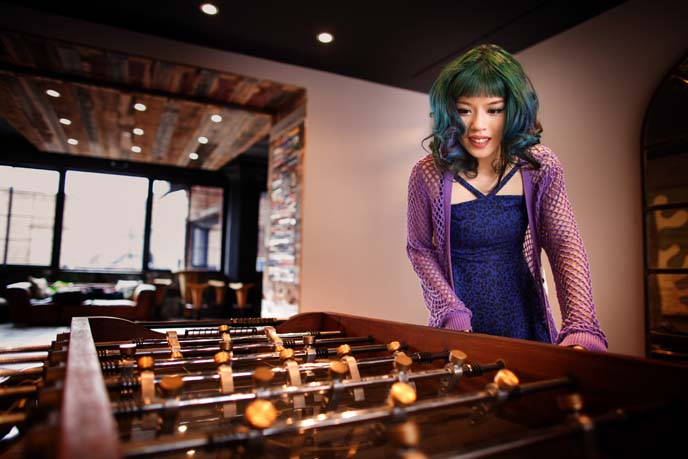 foosball machine, hipster boutique hotel nyc