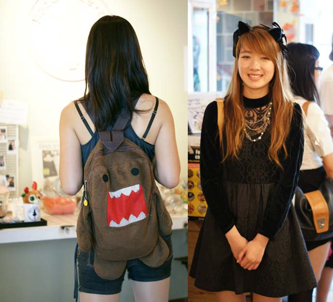 domo backpack, cat ears headband