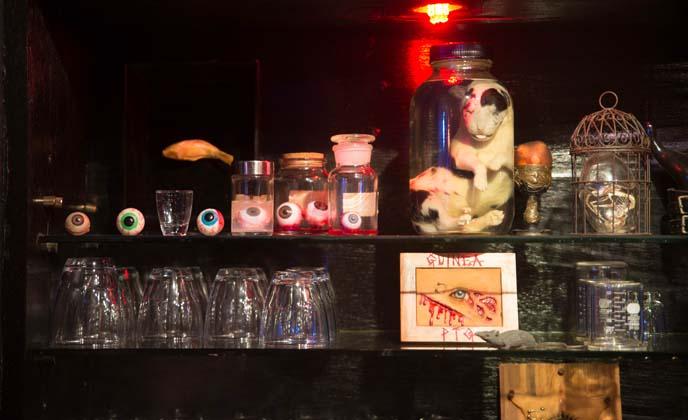 eyeballs in jars, horror bar