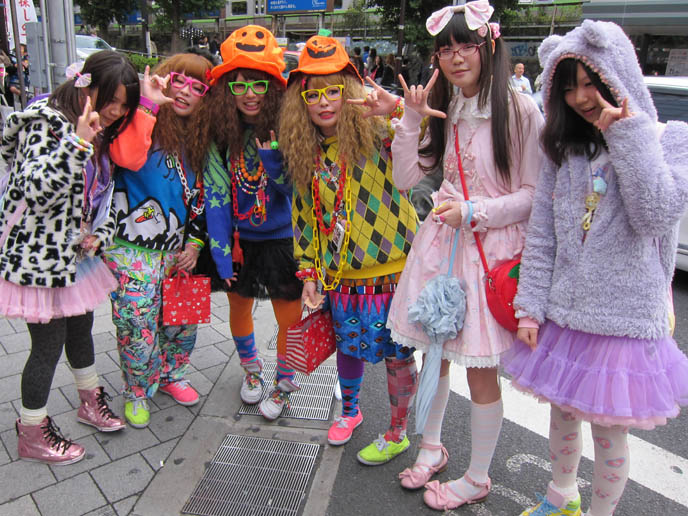 group of harajuku teenage girls