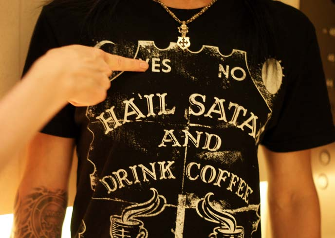 hail satan drink coffee, black craft tshirt