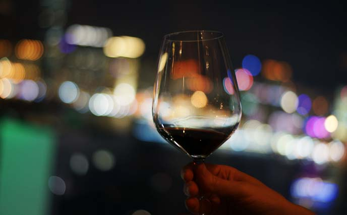wine glass colorful bokeh