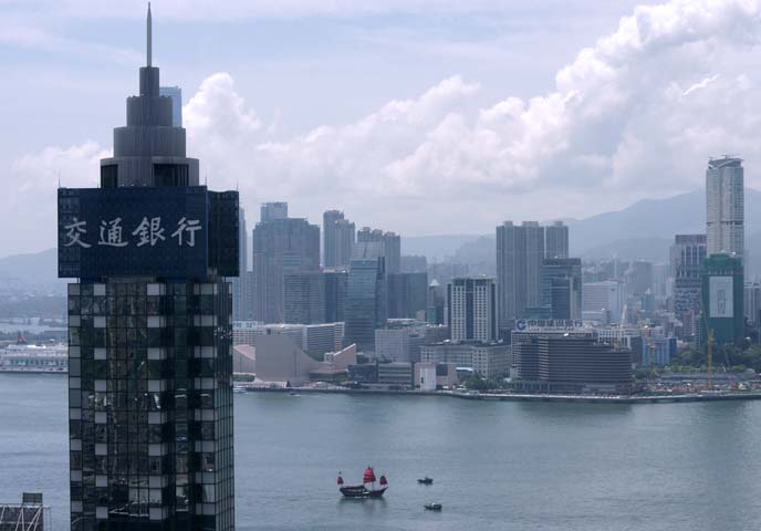 hong kong harbor buildings, junk boat