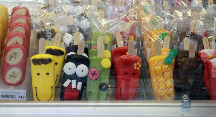 cute face decorated popsicles