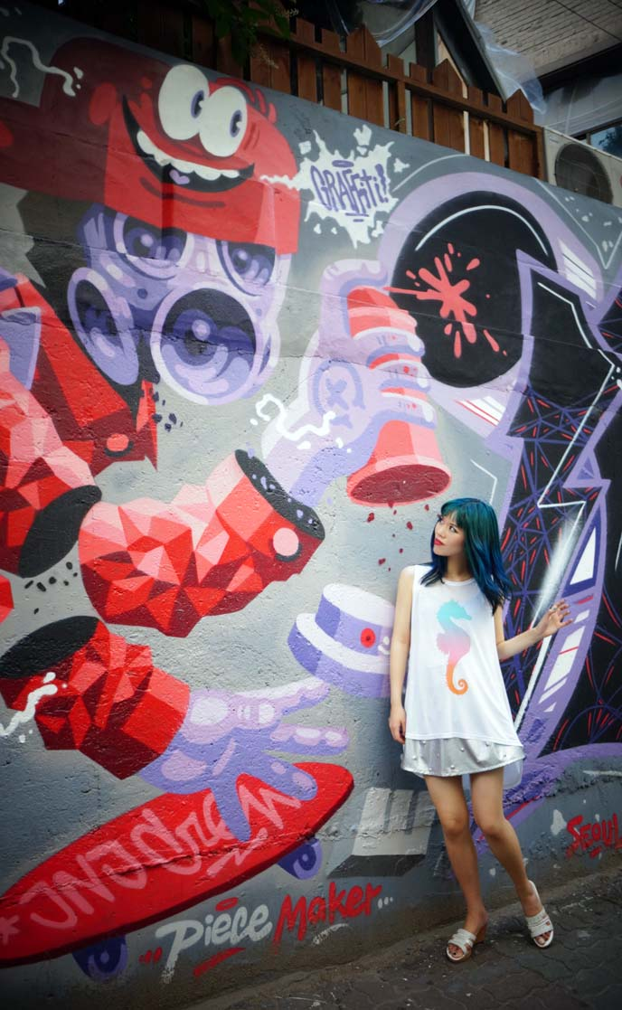Hipster Hongdae! Seoul's coolest neighborhood: graffiti walls, robot bar, Zombie cafe. | La Carmina Blog - Alternative Fashion, Travel, Subcultures