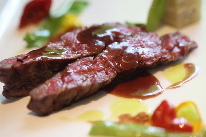 steak slices close up