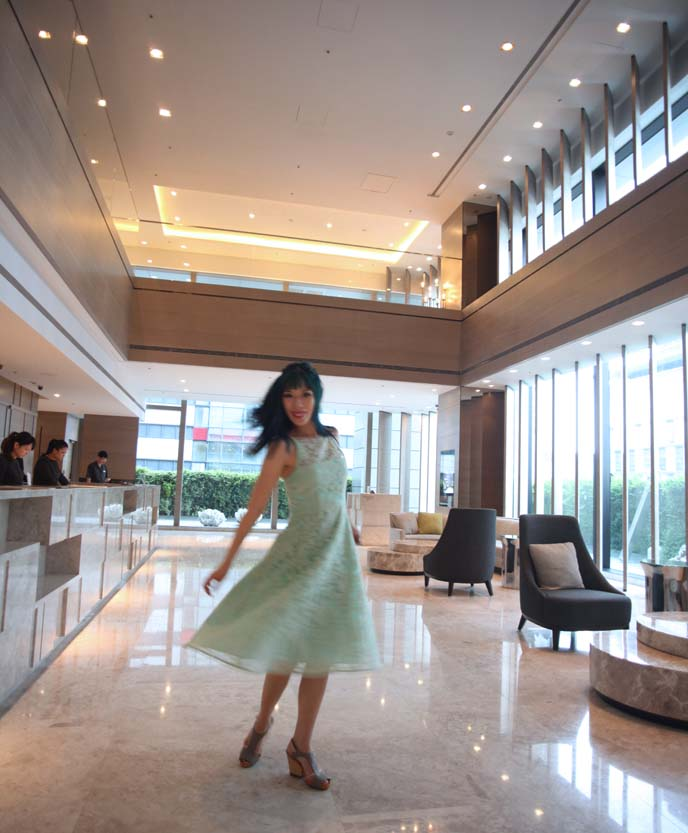 humble house lobby, girl twirling