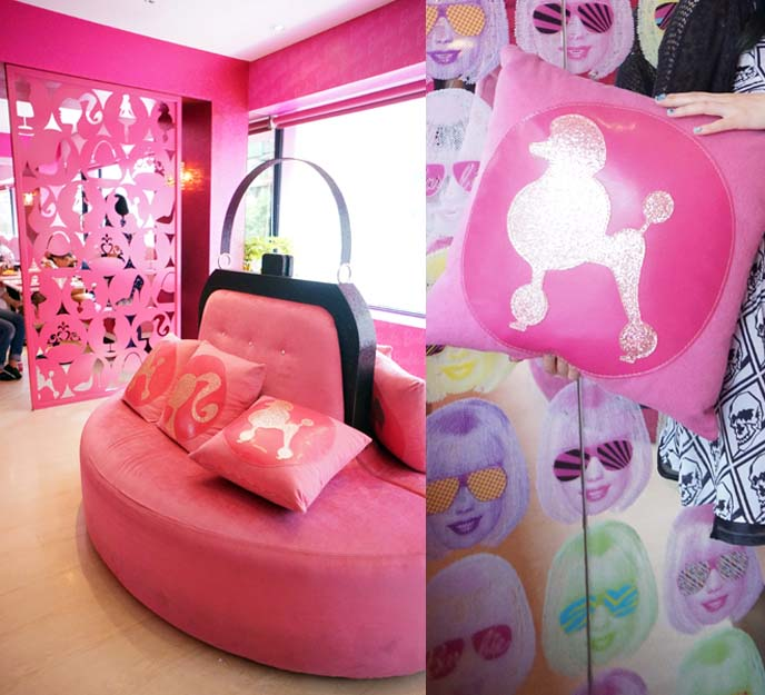 barbie purse shaped sofa, poodle pillows