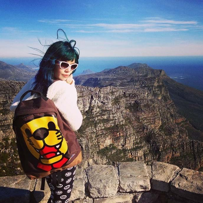 lion face backpack, women travel bloggers