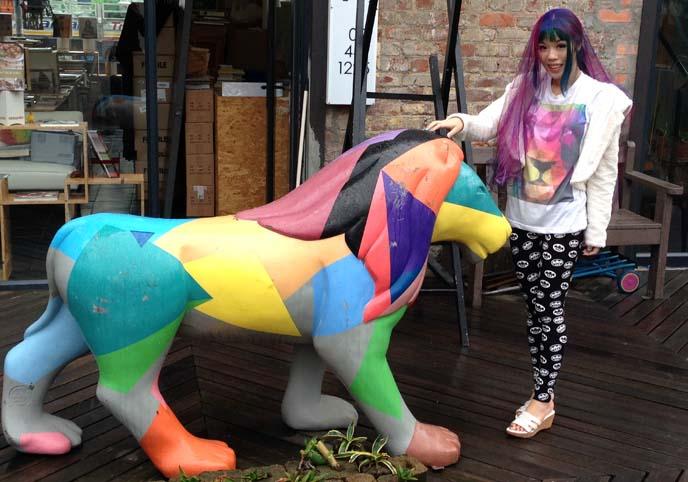 rainbow lion statue