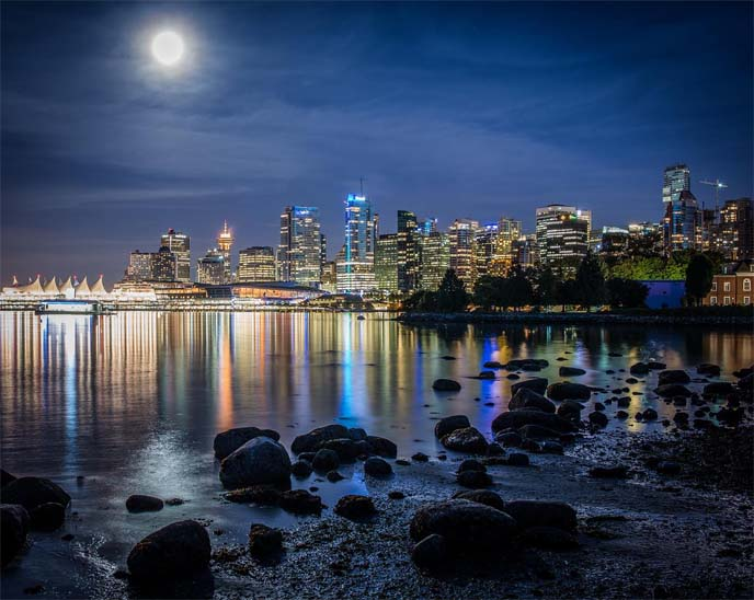 vancouver beach at night, moonlight