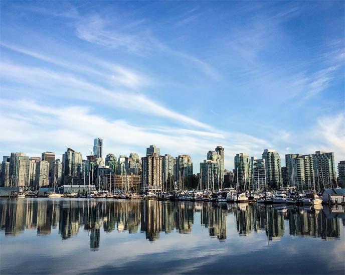 vancouver buildings ocean reflection