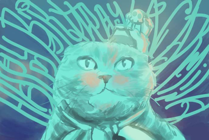 scottish fold birthday card illustration