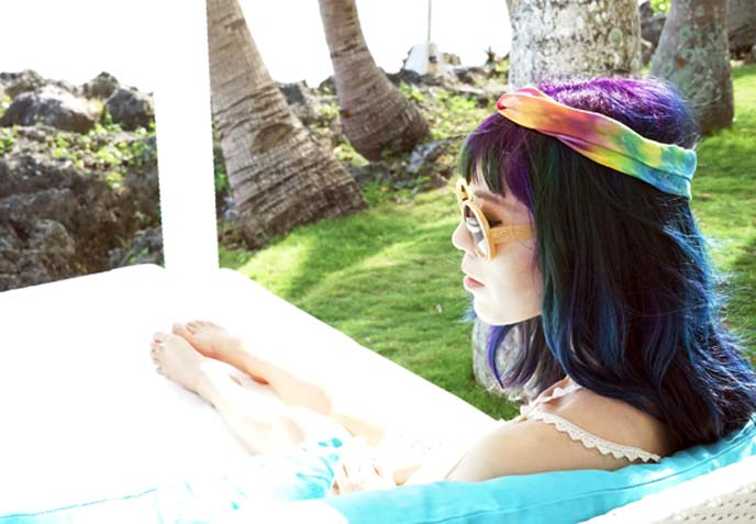 purple rainbow hair, headband