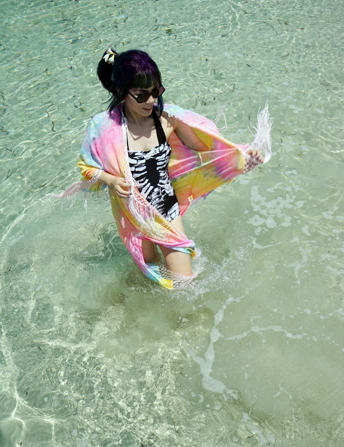 skeleton swimsuit, goth swimwear