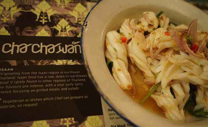 chachawan menu, thailand squid