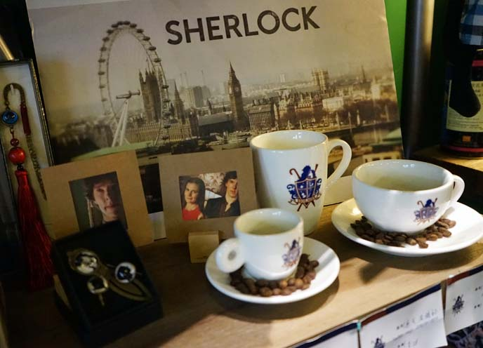 bbc sherlock cups, postcards