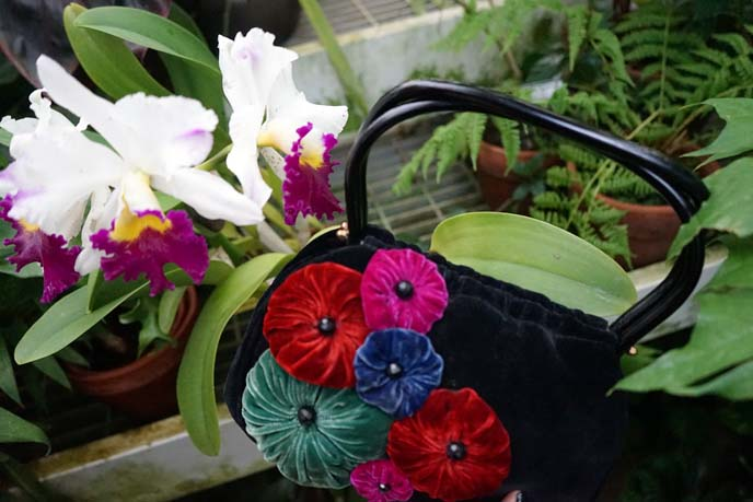black purse with flowers