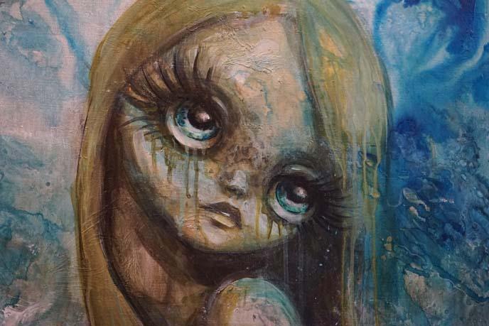 big eyes kawaii girl art