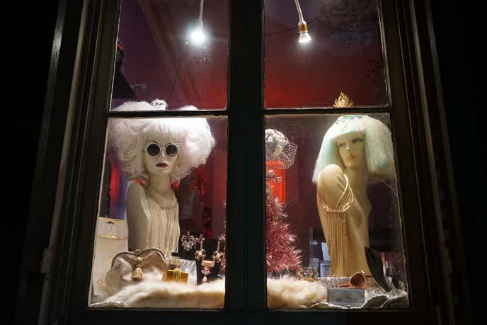 pastel wig store window