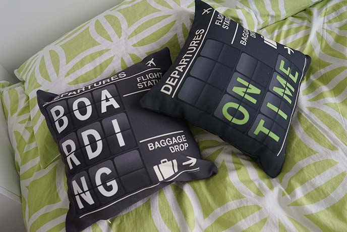 departures travel themed pillows