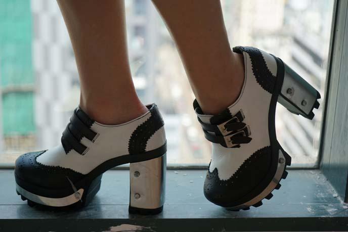 black white gothic shoes