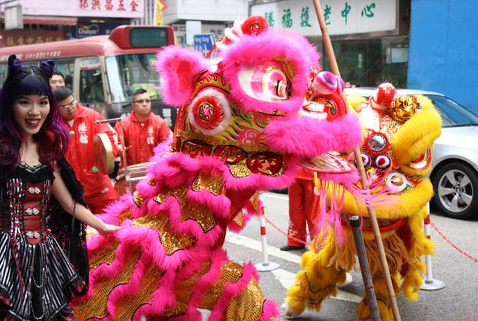 cute lion dancers, chinese new year