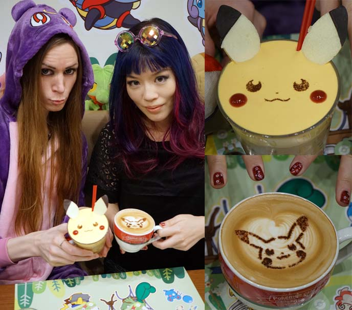 pikachu latte, cute drink