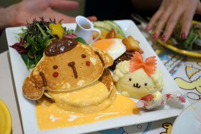 pompompurin cafe harajuku, cute dog shape pancakes