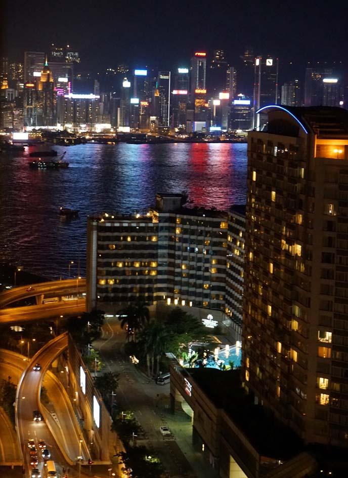 hong kong harbor reflection lights