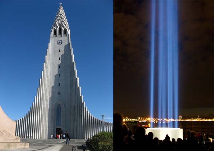 iceland peace tower, white church