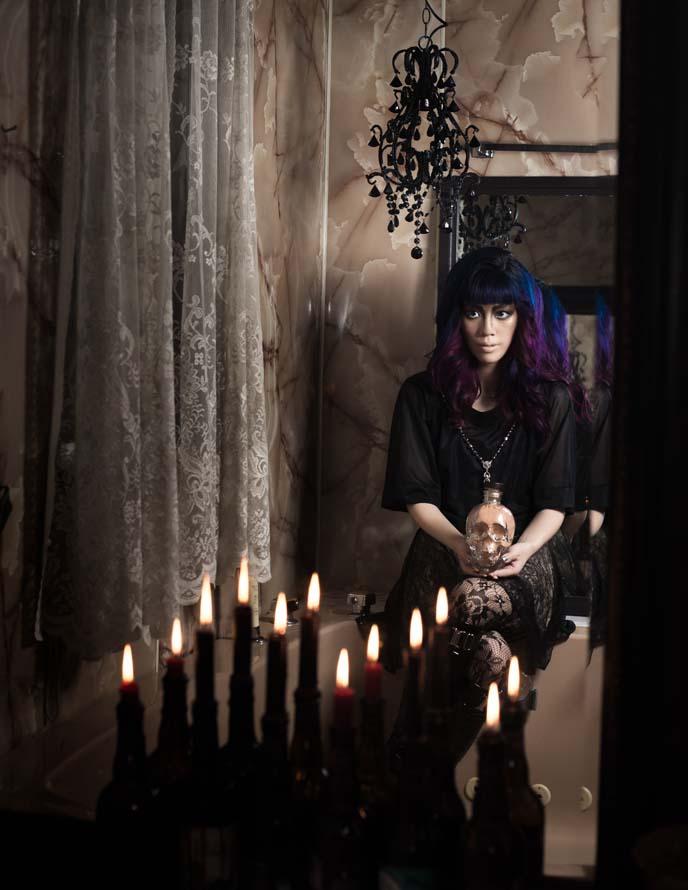 gothic candle vampire modeling photoshoot