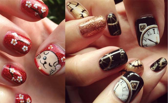 steampunk clockwork nail art, chinese new year nails