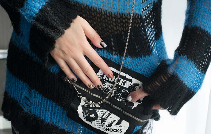 japanese punk sweater, nail art