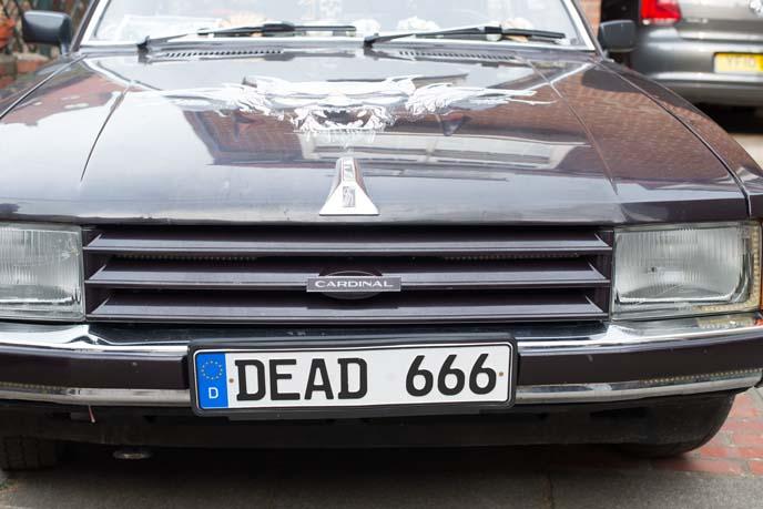goth car, gothic license plate