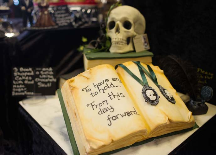 goth decorated skull cake