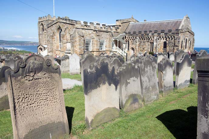 whitby abbey graveyard, tombstones