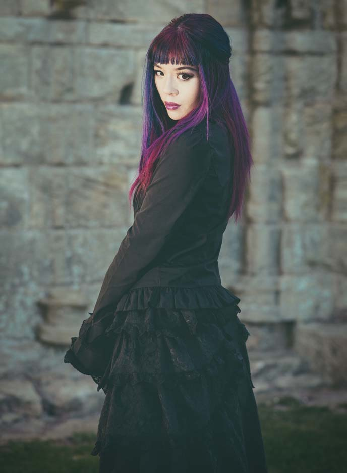 purple hair bangs, goth hairstyle